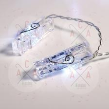 ^ PLASTIC CLIPS 20 LED ΛΑΜΠΑΚ ΣΕΙΡΑ ΜΠΑΤΑΡ.(3xAA) ΨΥΧΡΟ ΛΕΥΚΟ IP20 285+30cm ΔΙΑΦΑΝ ΚΑΛΩΔ ΤΡΟΦΟΔ FCLIP20W2A